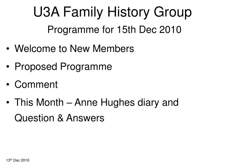 u3a family history group programme for 15th dec 2010 n.