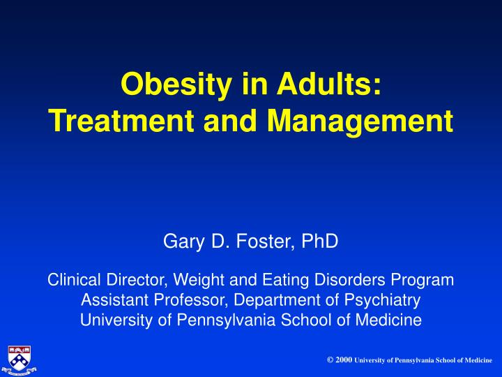 obesity in adults treatment and management n.