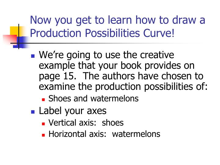 Now you get to learn how to draw a Production Possibilities Curve!