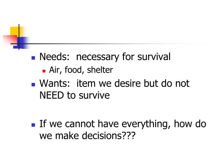 Needs:  necessary for survival