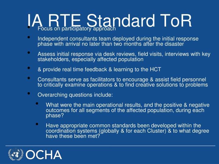 IA RTE Standard ToR