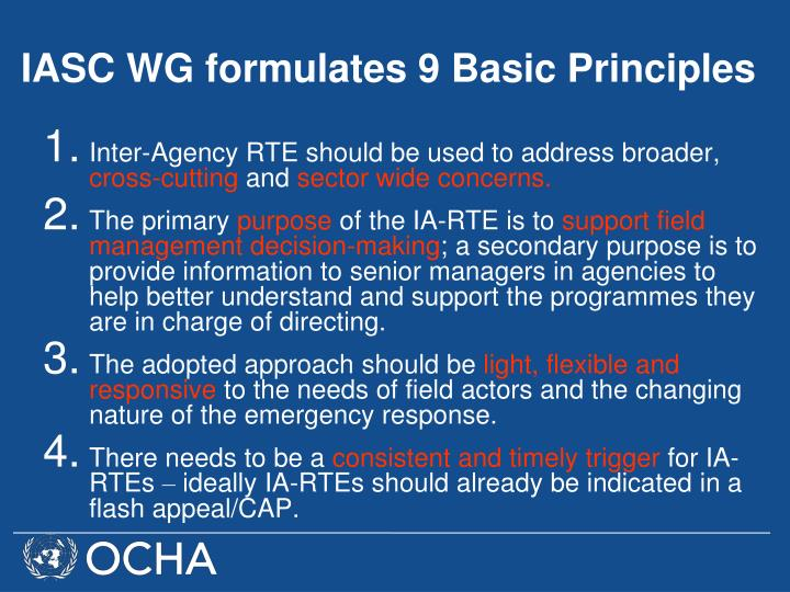 Inter-Agency RTE should be used to address broader,