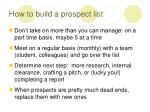 how to build a prospect list