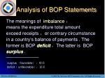 analysis of bop statements