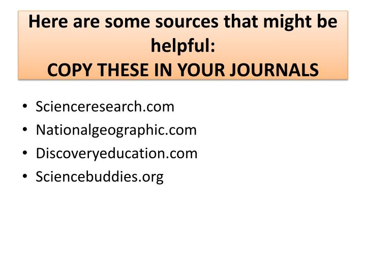 here are some sources that might be helpful copy these in your journals n.