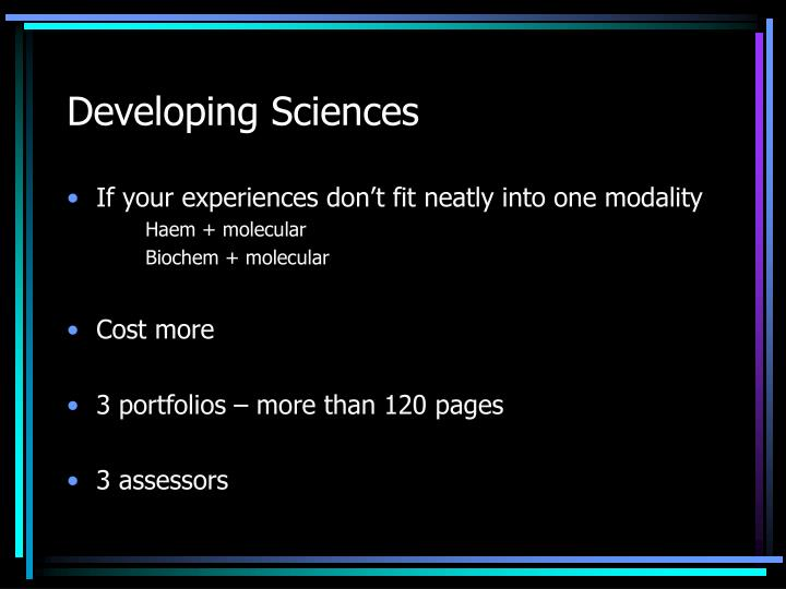Developing Sciences