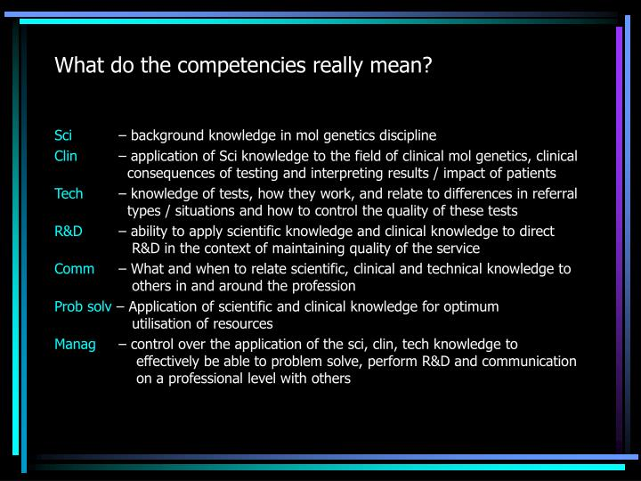 What do the competencies really mean?