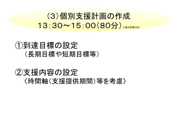 (3)個別支援計画の作成