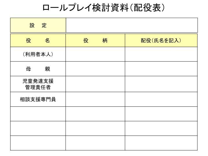 ロールプレイ検討資料(配役表)