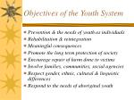 objectives of the youth system