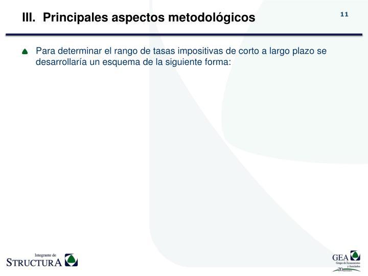 Principales aspectos metodológicos