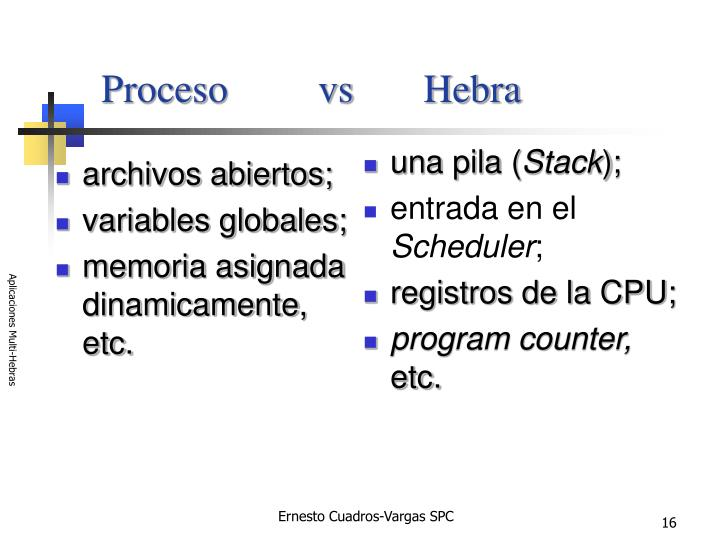 Proceso         vs       Hebra