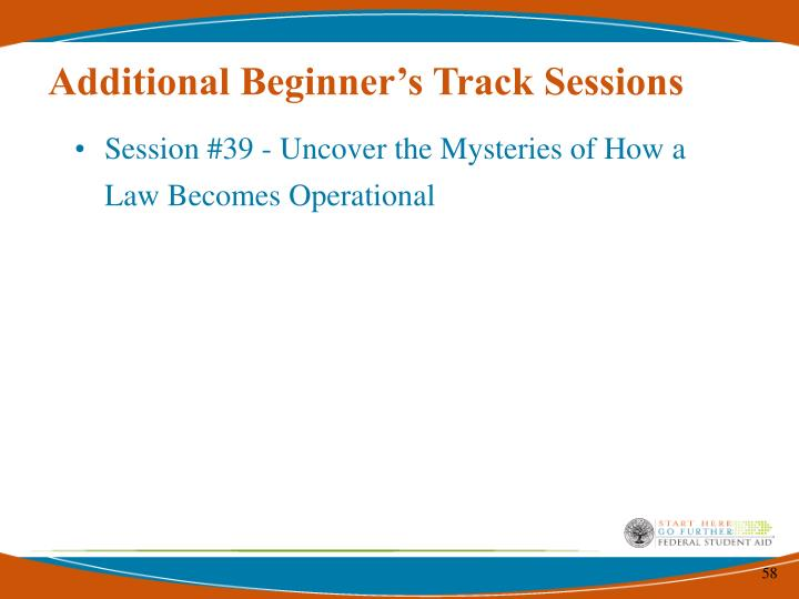 Additional Beginner's Track Sessions