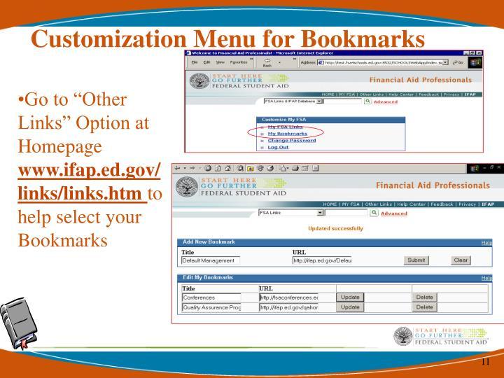 Customization Menu for Bookmarks