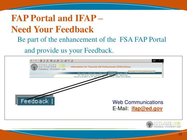 FAP Portal and IFAP –
