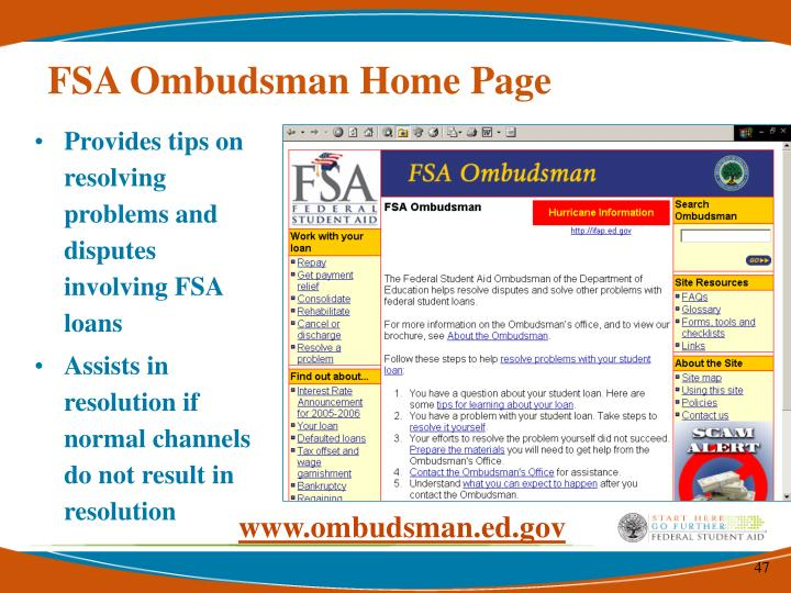 FSA Ombudsman Home Page