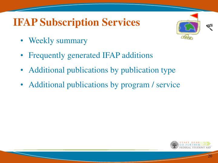 IFAP Subscription Services