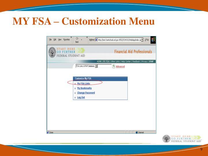 MY FSA – Customization Menu