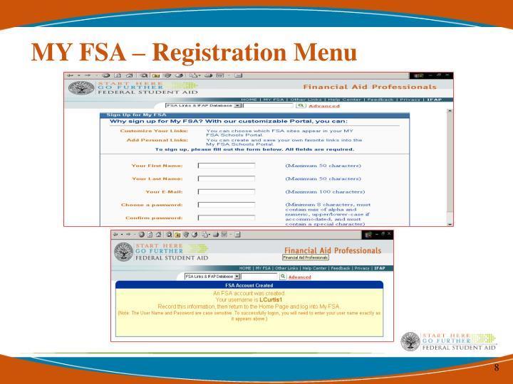 MY FSA – Registration Menu