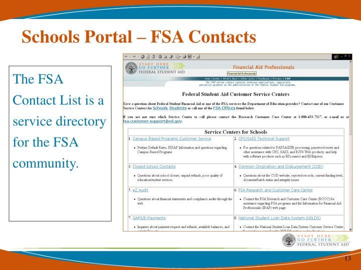Schools Portal – FSA Contacts