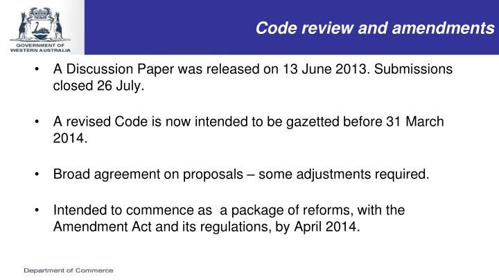 Code review and amendments