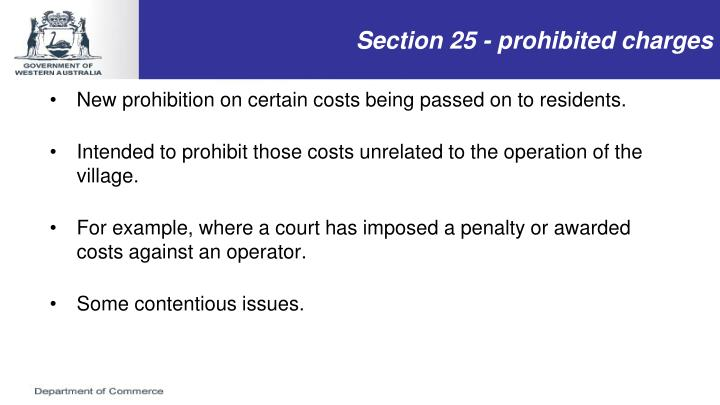 Section 25 - prohibited charges