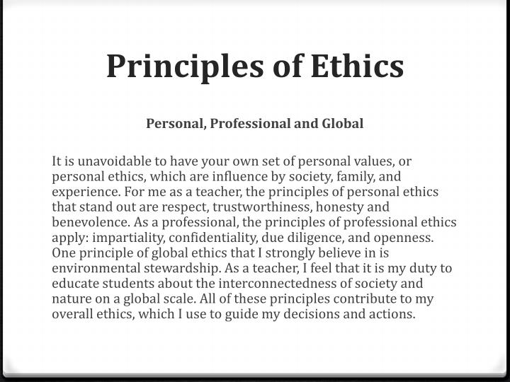 personal values and professional ethics