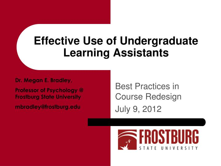 effective use of undergraduate learning assistants n.
