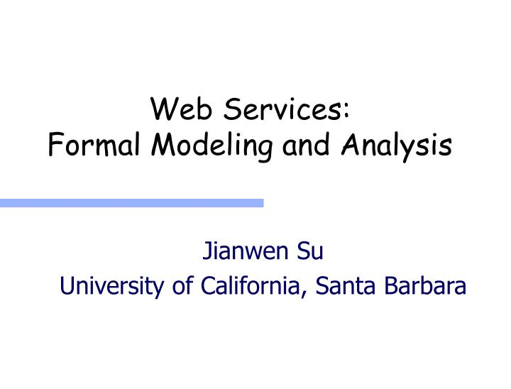 web services formal modeling and analysis n.