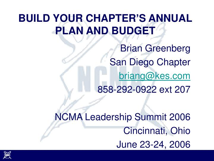build your chapter s annual plan and budget n.