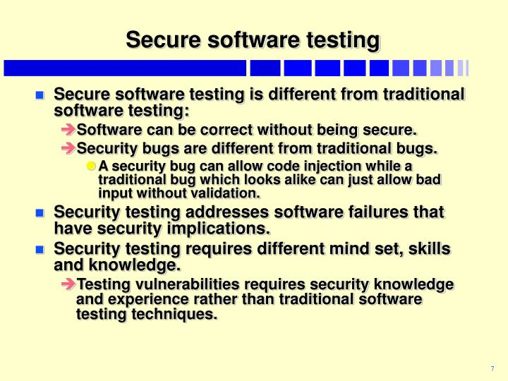 Secure software testing