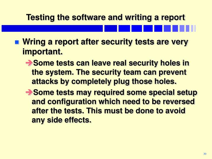 Testing the software and writing a report