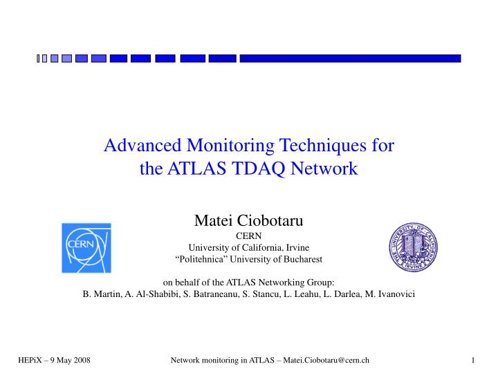 advanced monitoring techniques for the atlas tdaq network n.