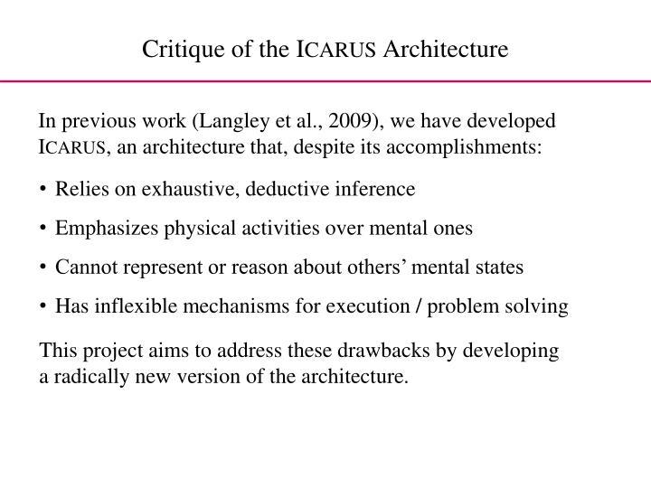 Critique of the i carus architecture