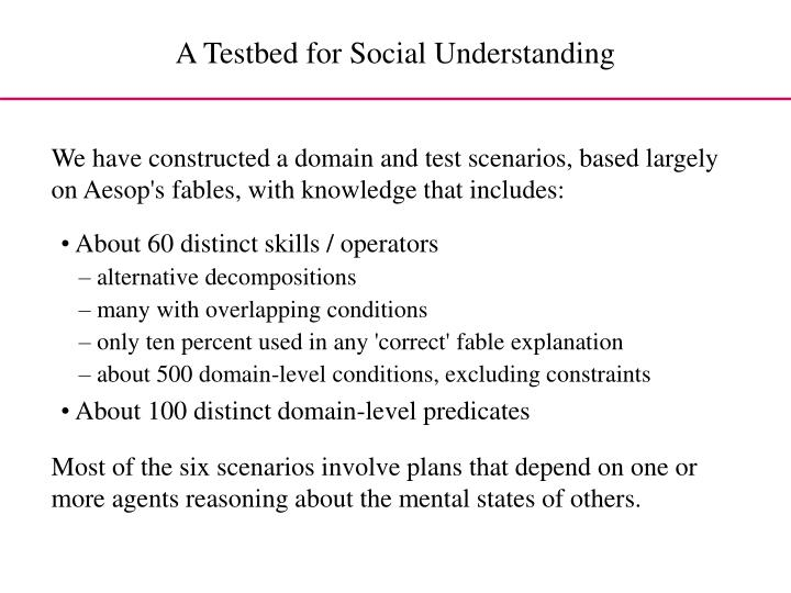 A Testbed for Social Understanding