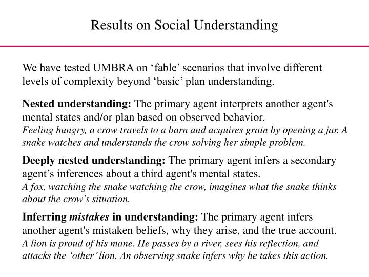 Results on Social Understanding