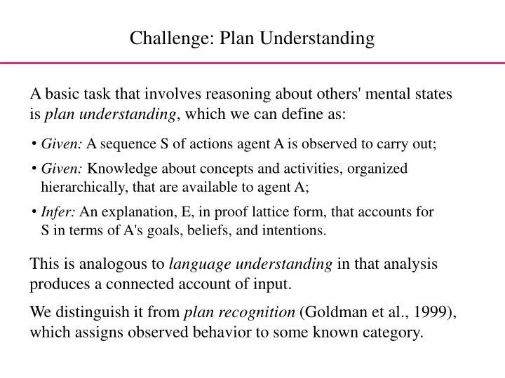 Challenge: Plan Understanding