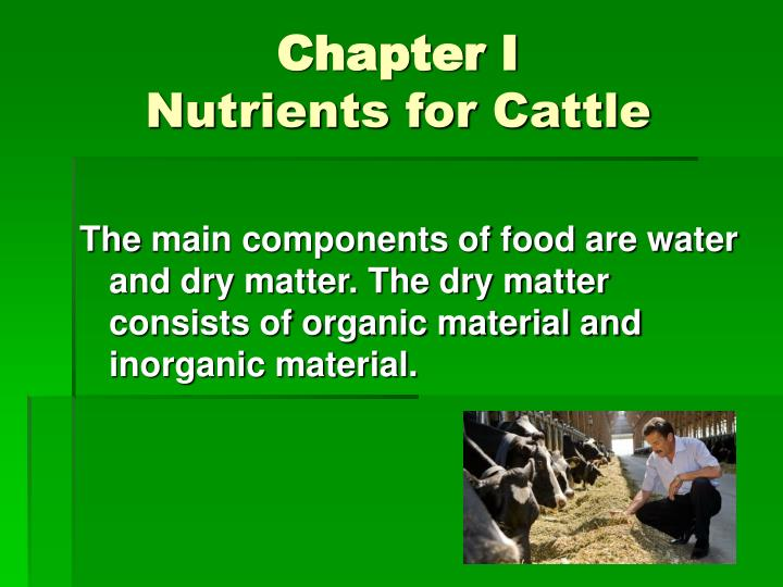 Chapter i nutrients for cattle