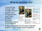 what to consider text