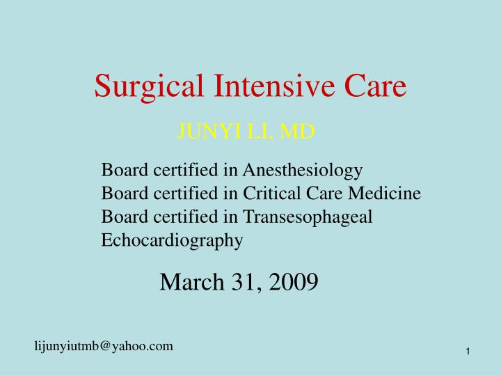 surgical intensive care n.