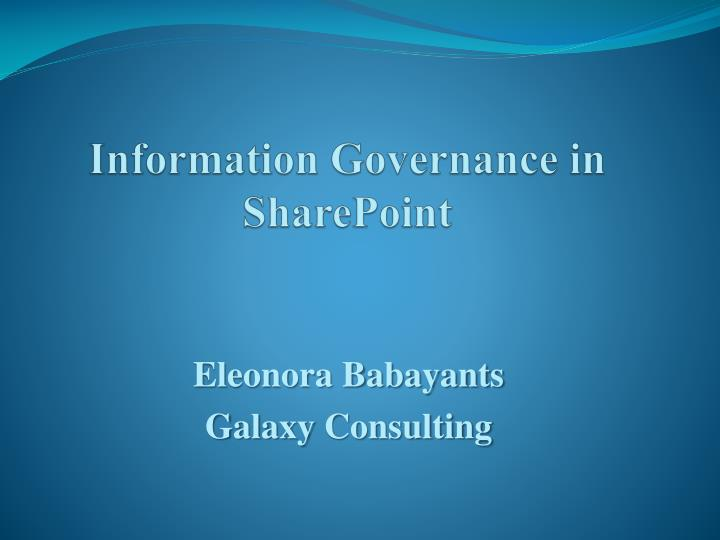 information governance in sharepoint n.