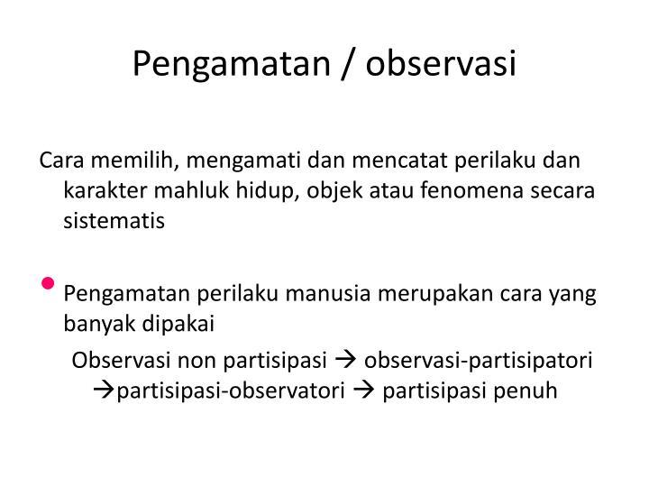 Pengamatan / observasi