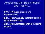 according to the state of health 2001 report