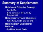 summary of supplements1