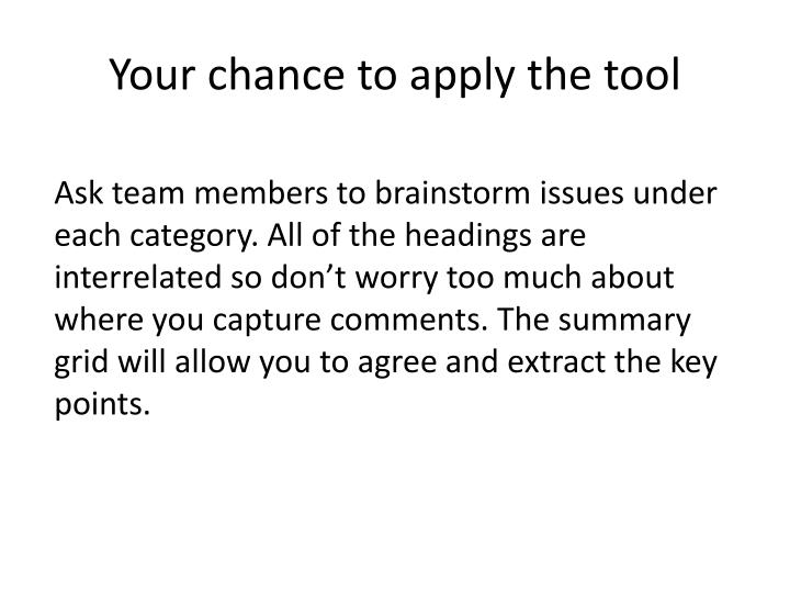your chance to apply the tool n.