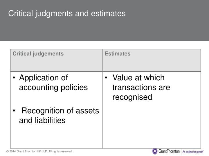 Critical judgments and estimates