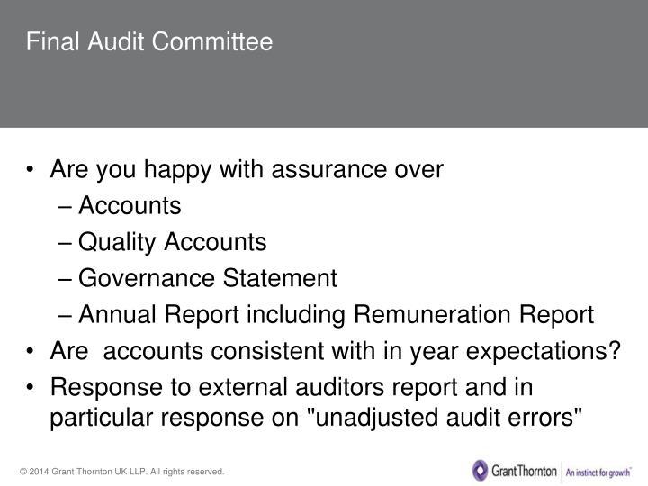 Final Audit Committee