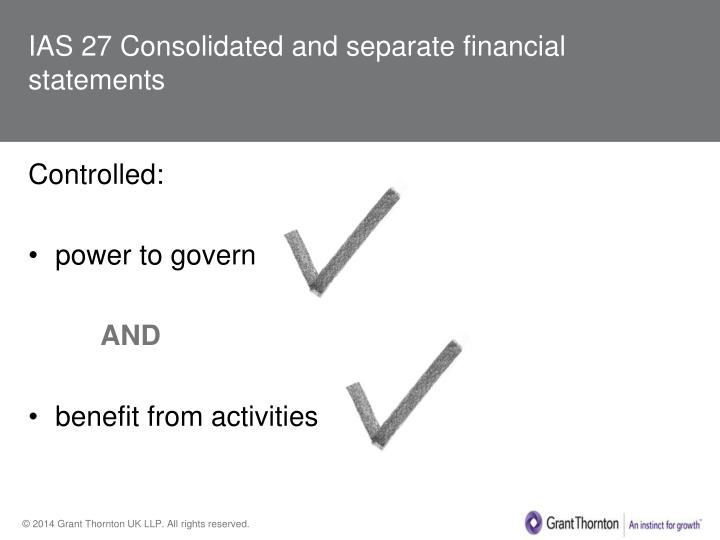 IAS 27 Consolidated and separate financial statements