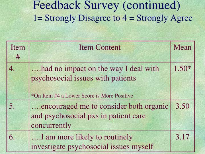 Feedback Survey (continued)