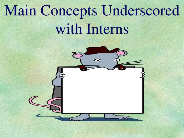 Main Concepts Underscored with Interns
